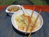 Won ton de camarones y tofu